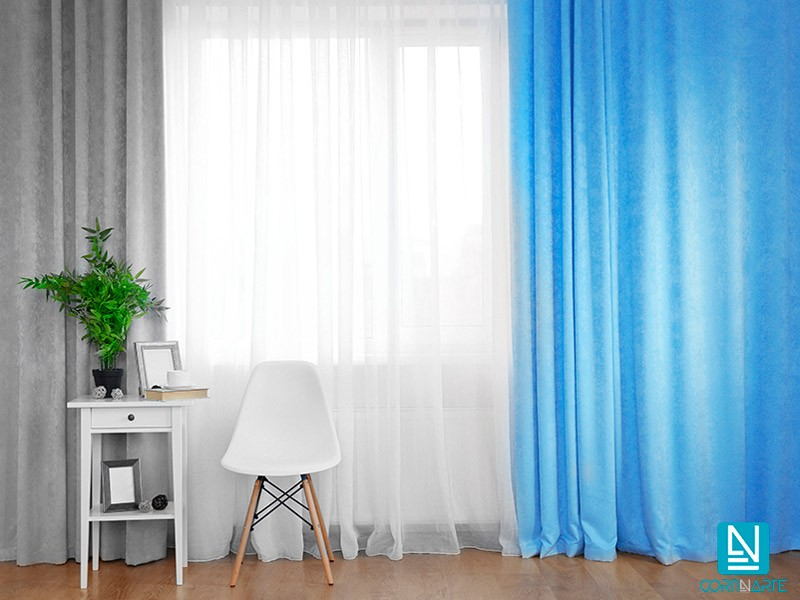 Cortina decorativa IMHOTEP azul ceruleo