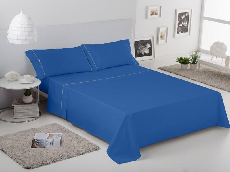 Juego de sábanas LISO con BIÉS azulón