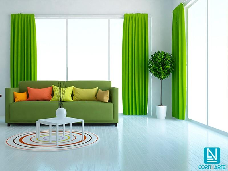 Cortina decorativa loneta AMON Algodón verde loro