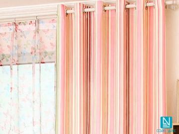Cortina visillo franjas verticales MARTE rosa